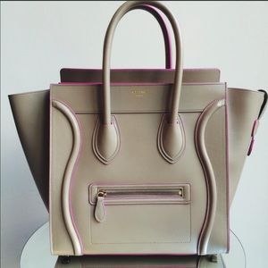 Celine Mini Luggage In Beige with Pink Trim